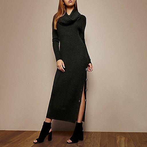 RI Studio dark green cowl neck maxi dress