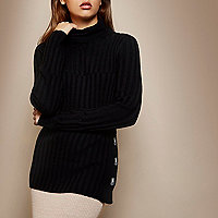 RI Studio black knit roll neck top