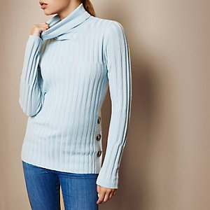 RI Studio light blue knit roll neck top