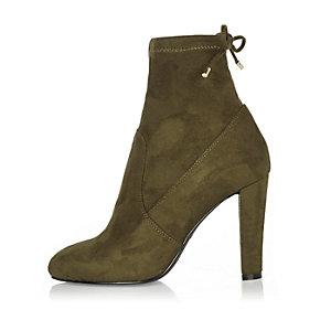 Khaki heeled sock ankle boots