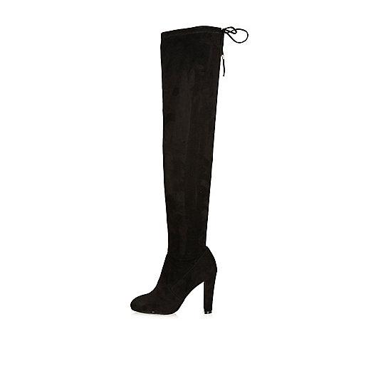 Black over-the-knee heel boots
