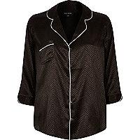 Black jacquard pyjama style shirt
