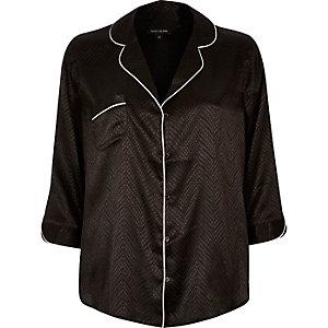 Black jacquard pajama style shirt