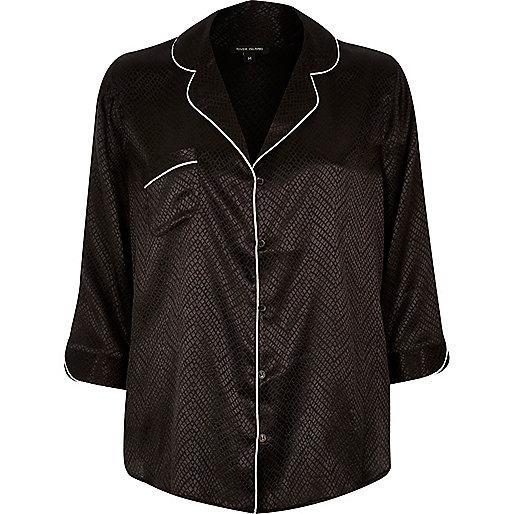 Schwarzes Jacquard-Hemd mit Schlangenledermuster