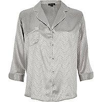 Graues Jacquard-Hemd mit Schlangenledermuster