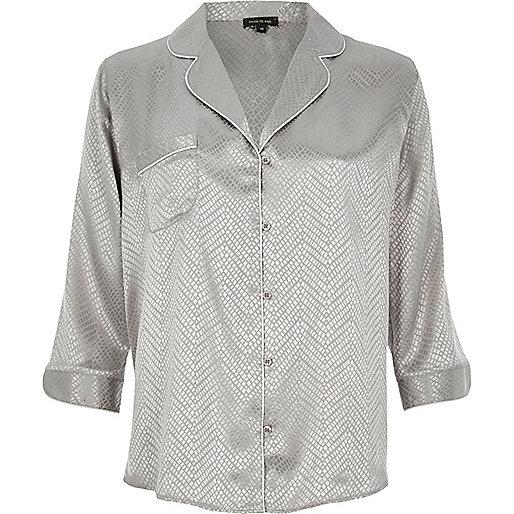 Grey jacquard pyjama style shirt