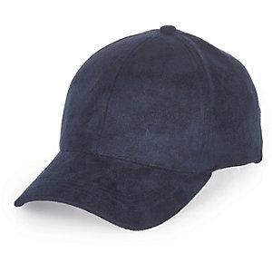 Navy faux suede cap