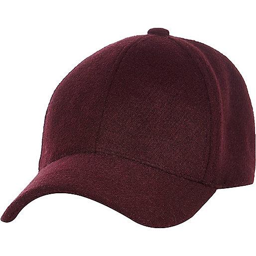 Burgundy wool blend cap