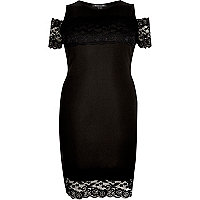 RI Plus black lace panel bardot dress