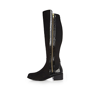 Black croc panel knee-high boots