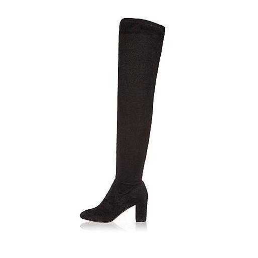 Schwarze Overknee-Stiefel mit Absatz