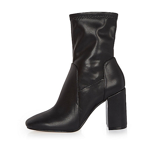 Black stretch ankle boots