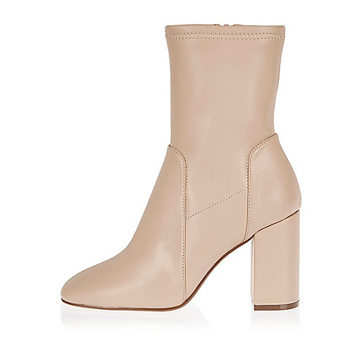 Light pink stretch ankle boots