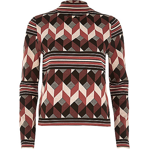 Red print funnel neck top