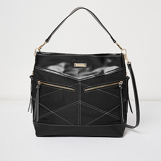 Black slouchy zipped handbag