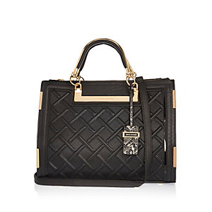 Black raised cord tote bag
