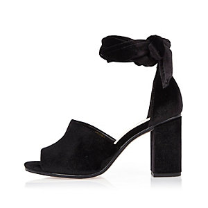 Black velvet block heel sandals