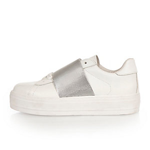 White metallic panel flatform sneakers
