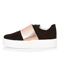 Black metallic panel flatform trainers