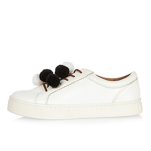White pom pom sneakers