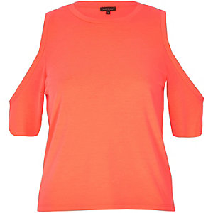 Fluro coral cold shoulder top