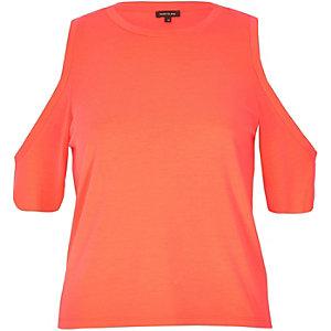 Fluro coral cold shoulder top
