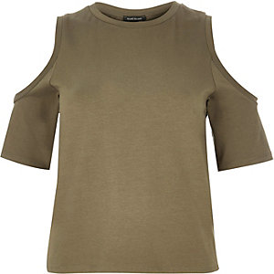 Khaki cold shoulder top