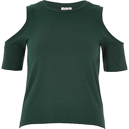 Dark green cold shoulder top