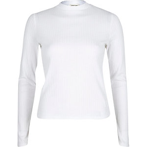 Cream ribbed turtle neck top