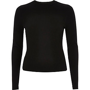 Black ribbed turtleneck top