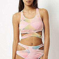 Pink print cut-out bikini tank top