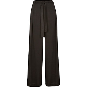 Black soft tie waist wide leg pants