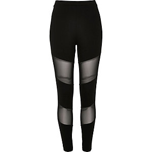 Black mesh panel leggings