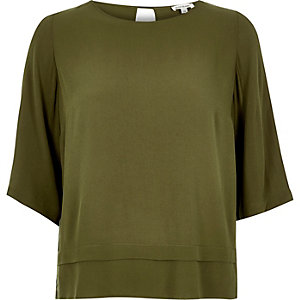 Khaki layered hem top