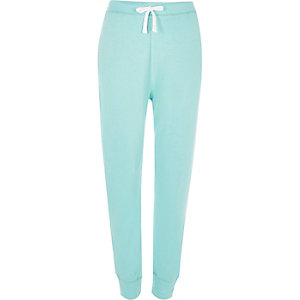 Turquoise jersey joggers
