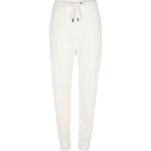 White jersey joggers