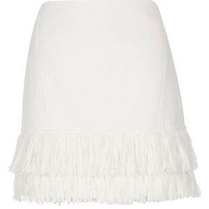 White fringe mini skirt