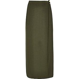 Khaki wrap maxi skirt
