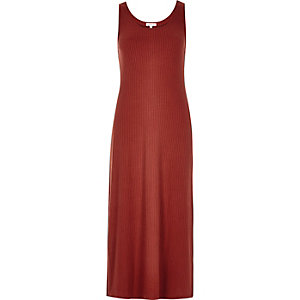 Rust ribbed maxi dress