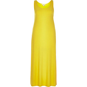 Yellow ribbed maxi dress