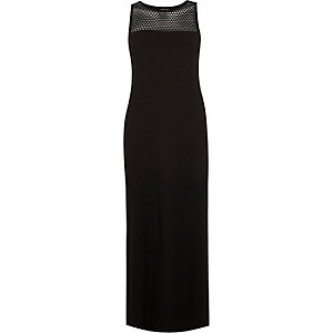 Black mesh panel ribbed maxi dress