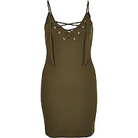 Khaki tied front dress
