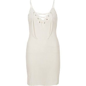 Cream tied front dress