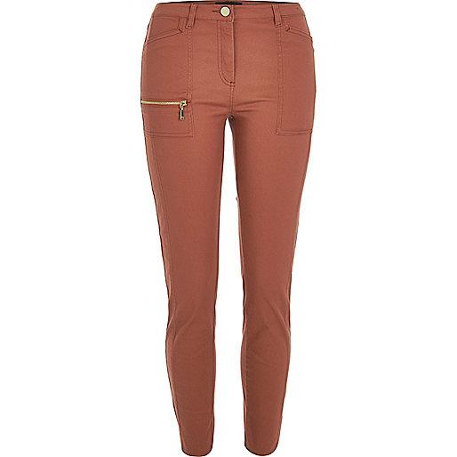 Rust zip skinny fit trousers