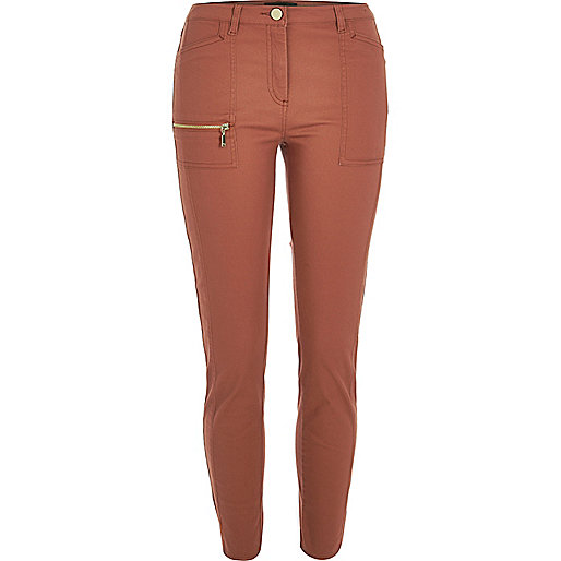 Pantalon brique skinny zippé