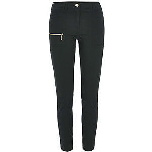 Dark green zip skinny fit pants