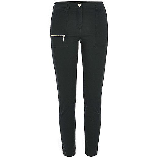 Dark green zip skinny fit trousers