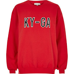 Red slogan sweater