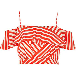 Red stripe print frilly bardot top