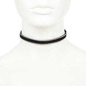 Black faux suede chain choker